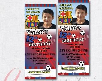 Soccer birthday party invitation. Boy birthday party. Soccer ticket invitation. Soccer invite. Barcelona invitation.