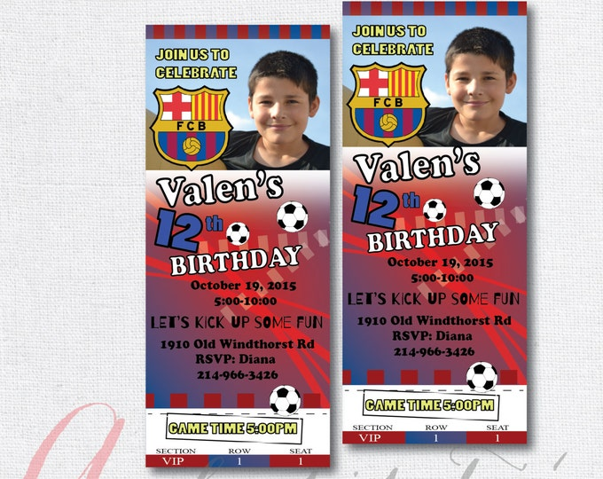 Soccer birthday party invitation. Boy birthday party. Soccer ticket invitation. Soccer invite. Barcelona invitation.