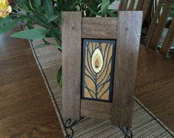 Fumed Oak Mission Framed Motawi Art Tile