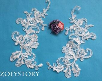 Bridal Piece Lace Applique, Ivory Corded Lace Applique, Alencon Lace Applique, Sell by Mirror Pair(AL101)