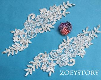 Bridal Piece Lace Applique, Ivory Corded Lace Applique, Alencon Lace Applique, Sell by Mirror Pair(AL102)