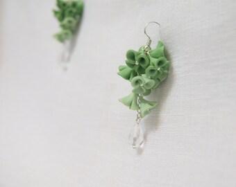 Green flower earrings handmade flowers handmade earrings