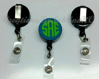 Monogram Badge ID Reel- Retractable Badge Reel- ID Badge Reel