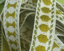 3.96 Mtrs of Gorgeous Narrow Vintage French Olive Green & White Passementerie Trim-perfect for Home Decor Projects!