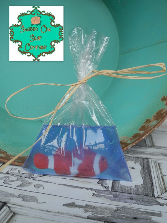 Fish in a bag soap bar handmade soap toy soap fish party for Fish in a bag soap