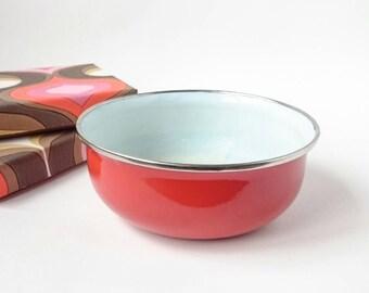 Red Enamel Bowl | rustic enamel kitchenware | camping
