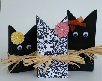 set of 3 wooden black cat halloween decor halloween cats rustic halloween decor - Halloween Cat Decorations