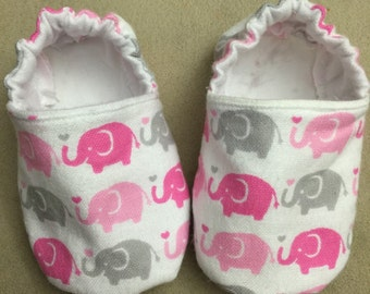 Pink baby girl booties, elephant, shoes, slippers, crib shoes, infant, animal