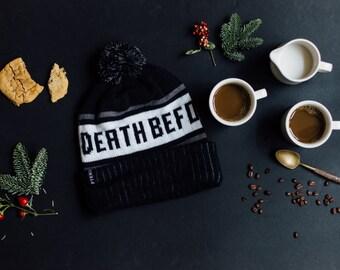 Death Before Decaf Coffee Cuffed Pom Knit Beanie Hat