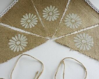 Rustic hessian daisy motif bunting.