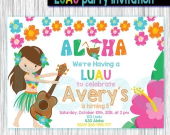 50%off LUAU Party Invitation-Aloha invitation-Luau girl invite-Birthday party-Invitation Hawai-Luau party-Avaliable in 4x6 or 5x7 format