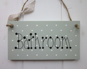 Bathroom door sign plaque chic shabby country style, East of India ribbon. Choose your colour.