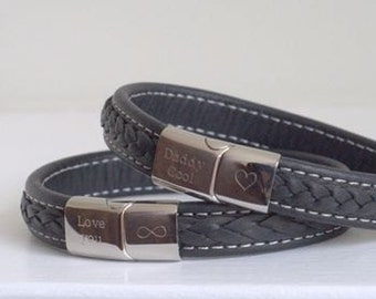 Men's Personalised Steel Leather Bracelet, mens custom bracelet, leather bracelet, mens personalized, mens bracelet, engraved bracelet,