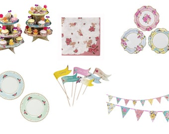 Truly Scrumptious Vintage Tea Party Ware. Plates, Napkins, Food Flags, Bunting + Party Pack. **FREE P&P