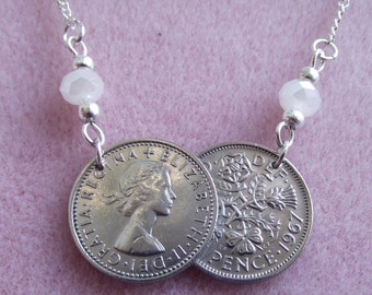Sixpence double coin necklace with white beads