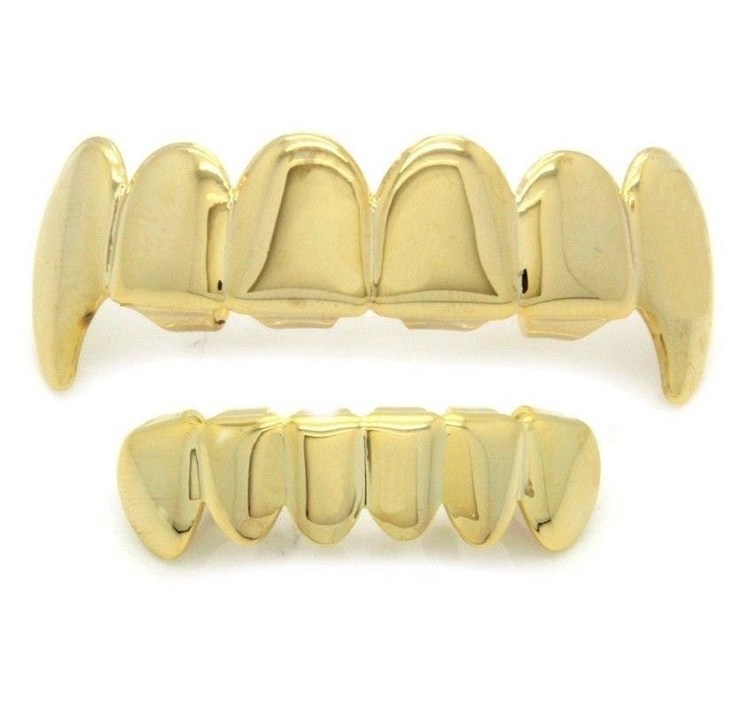 Hip Hop 14k Gold Plated Vampire Fangs Grillz Top & Bottom
