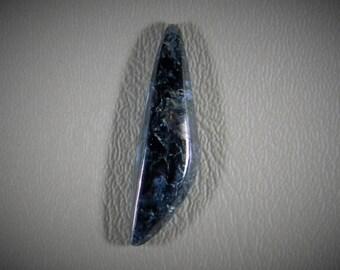 Natural Pietersite freeform designer cabochon. 40x11x5mm. Classic dark blue.