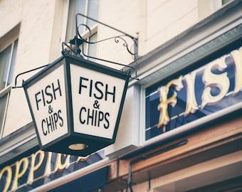 Fish & Chips, London Print, London Photography, Kitchen Decor, Restaurant Decor, Travel Photo, London Wall Art