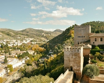 Spain Photography, Alhambra Palace, Foothills, Black and White, Granada, Travel Photo, Fine Art Print, Europe, Home Decor, Wall Art