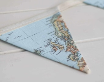 Vintage World Map Bunting