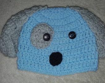Crochet puppy hat , baby puppy hat, photo prop , newborn boy dog hat, crochet dog hat, Crochet baby hat, baby dog hat, newborn dog hat,