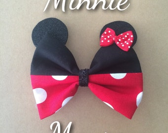 Handmade Minnie Mouse inspired hair bow