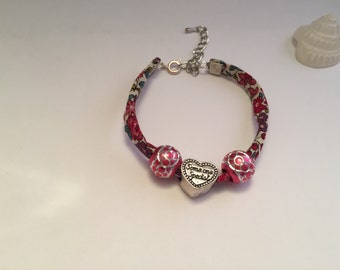 Bracelet charm's liberty pink with beads and heart ref 565