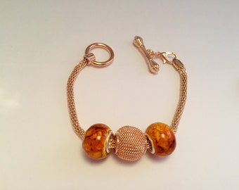 Bracelet charm's golden yellow, clasp toggle ref 573