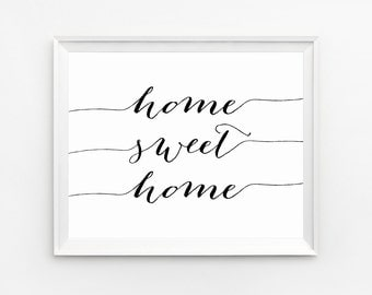 Home Sweet Home Wall Art home sweet home print rustic print flowers print quote