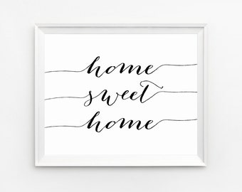Home Sweet Home Wall Art home sweet print | etsy