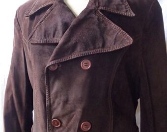 vintage suede coat; vintage suede trenchcoat; suede long jacket; 70s suede coat; leather trench coat chocolate brown coat; vintage jacket
