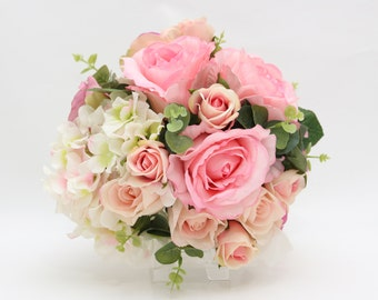 Silk and Real Touch Pink Rose and Cream Hydrangea Bridal bouquet and boutonniere wedding set Boutonniere