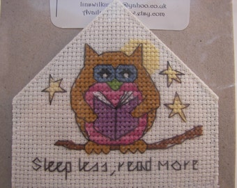 Hand embroidered owl bookmark