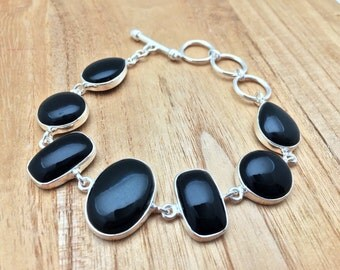Black Onyx Silver Bracelet // 925 Sterling Silver // 7.5 to 8.5 Inches // Teardrop Square Oval Shape //Toggle Clasp