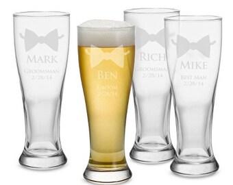 Set of 7 Pilsner Glasses - Groom and Best Man/Groomsmen, Personalized Beer Pilsner, Engraved Beer Glass, Groomsmen Gift