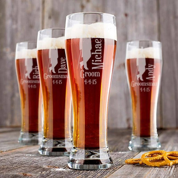Customized Wedding Beer Glasses : Personalized Wedding Glasses, Personalized Beer Pilsner, Engraved Beer ...