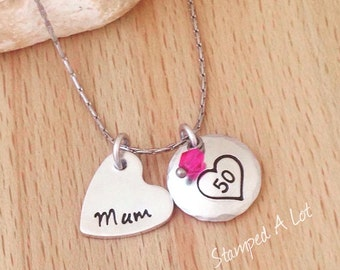 personalised necklace, 50th Birthday gift, name necklace, handstamped jewelry, statement necklace, gift for mum, gifts for women, mother