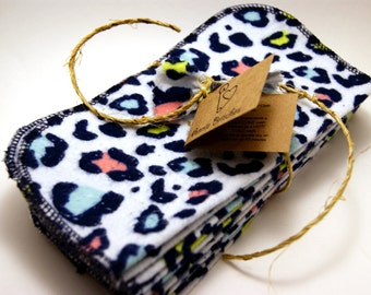 Cloth Wipes-Set of 20 Flannel Wipes- Neon Leopard Print