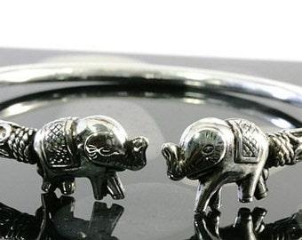 Elephants bangle in 925 sterling silver  --  4034