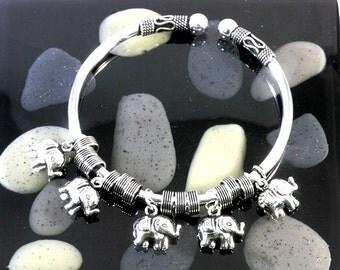 Elephants bangle in 925 sterling silver  --  4801