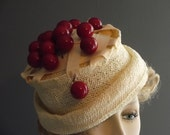 straw hat, cherry pie whimsical hat, red cherries, grosgrain strip pie lattice top, off white and red hat, party hat, funny hat, handmade