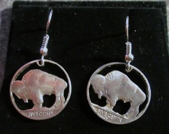 Buffalo Nickel Cut Coin Earrings