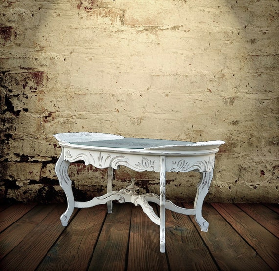 Vintage Coffee Table Chippy White Cottage By Generationupcycle