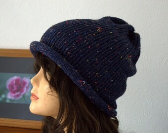 Handmade Hand Knitted Chunky Knit Beanie Hat - Blue Tweed