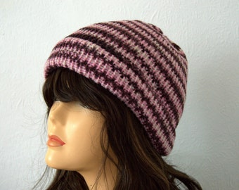 Handmade Hand Knitted Chunky Knit Stripey Winter Hat - Beautiful Pinks, Indigos and Plum