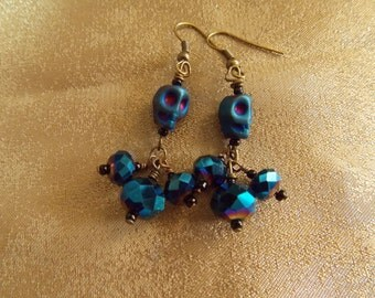 Skull Earrings Metalic Iris Blue Skull Earrings  E19