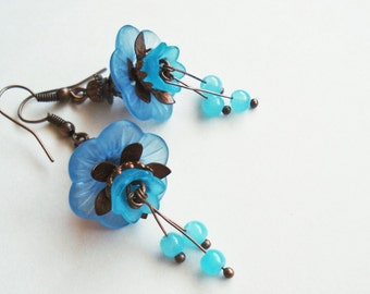 Blue Flower Earrings, Floral Jewelry, Vintage Style Aqua Blue Earrings, Bridesmaid Gift, Blue Victorian Earrings Gift Idea, Woodland Wedding