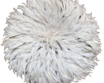 Juju Hat|Authentically Hand Woven Feather Headdress And Wall Décor – 31 Inches | NATURAL WHITE