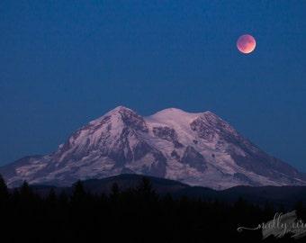 Total Lunar Eclipse Mount Rainier Super Blood Moon NASA Landscape Photo 8x10 8x12 11x14 12x18 Custom Size Color Print