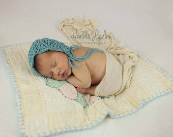 Newborn Bonnet/Gull Lace/Vintage/Country/Baby Girl/Photo Prop/Made to Order- {Annabelle}